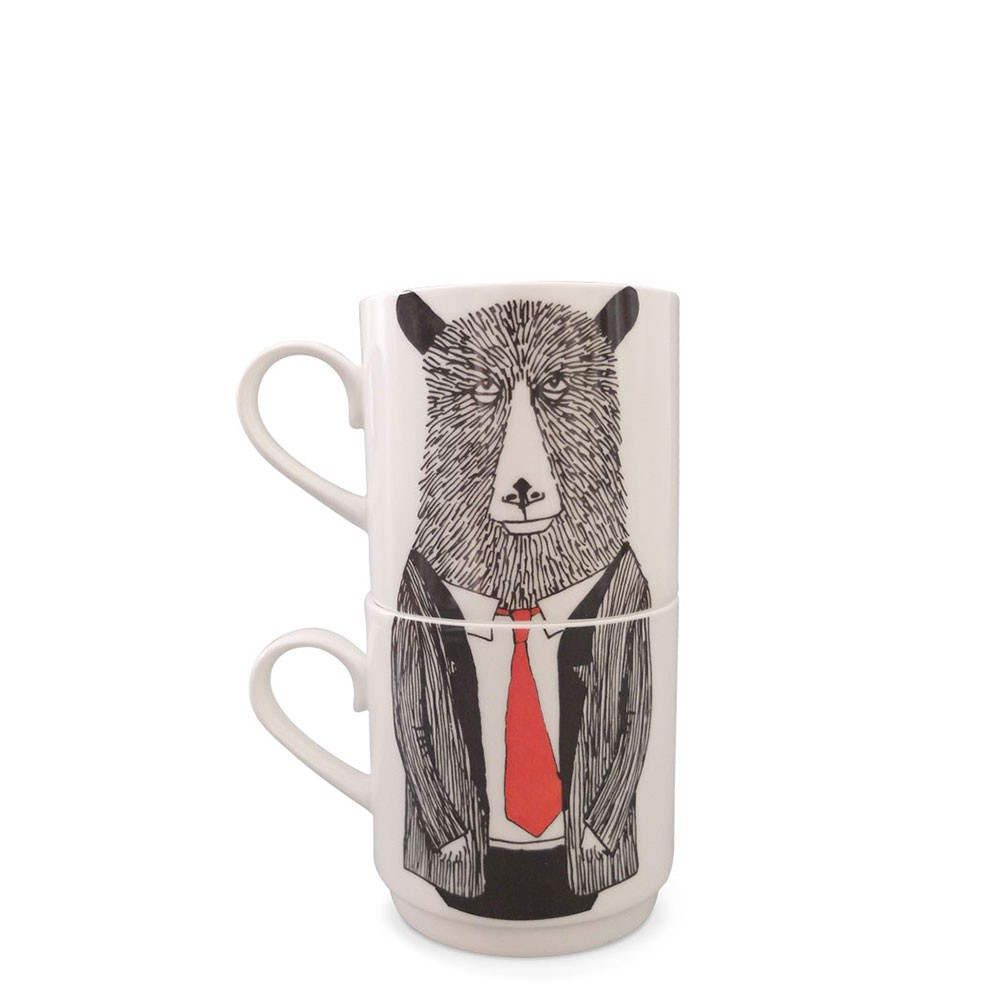 Mr Bear Stackable Tea Mugs (2Cup Set)