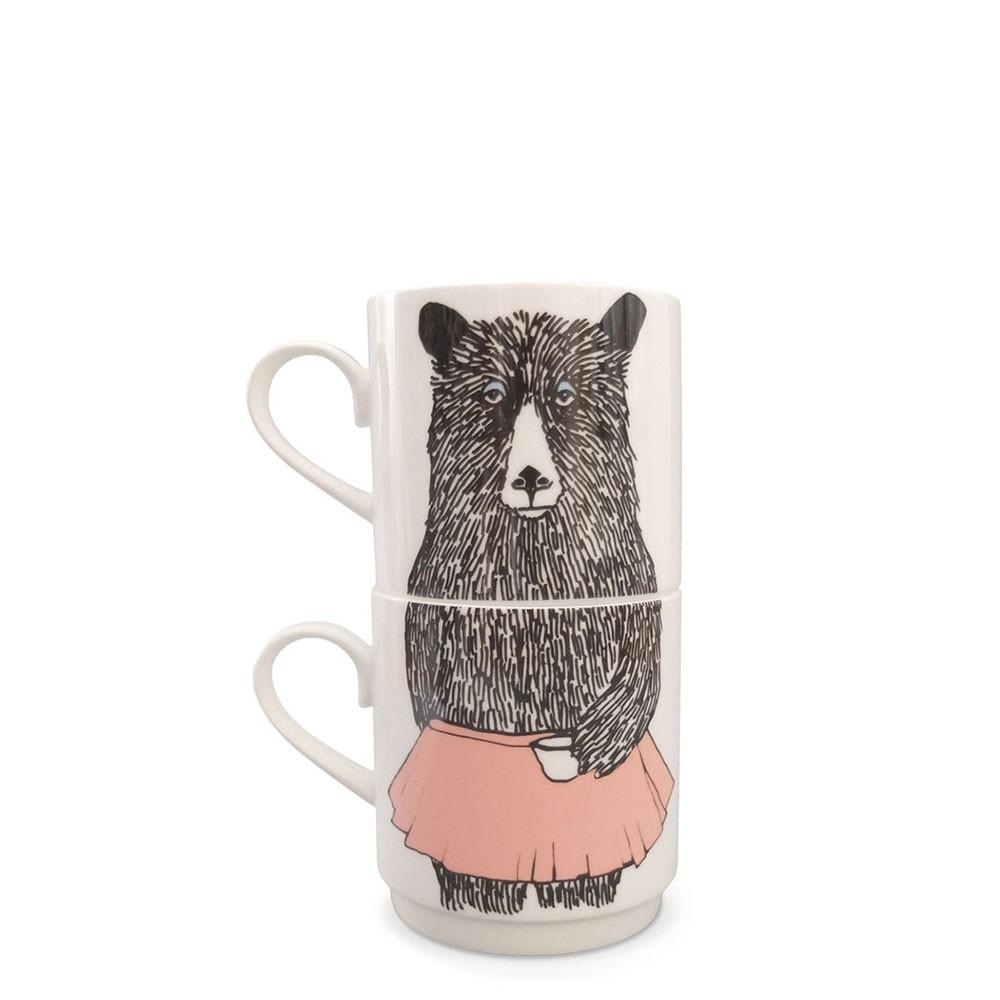 Mrs Bear Stackable Tea Mugs (2Cup Set)