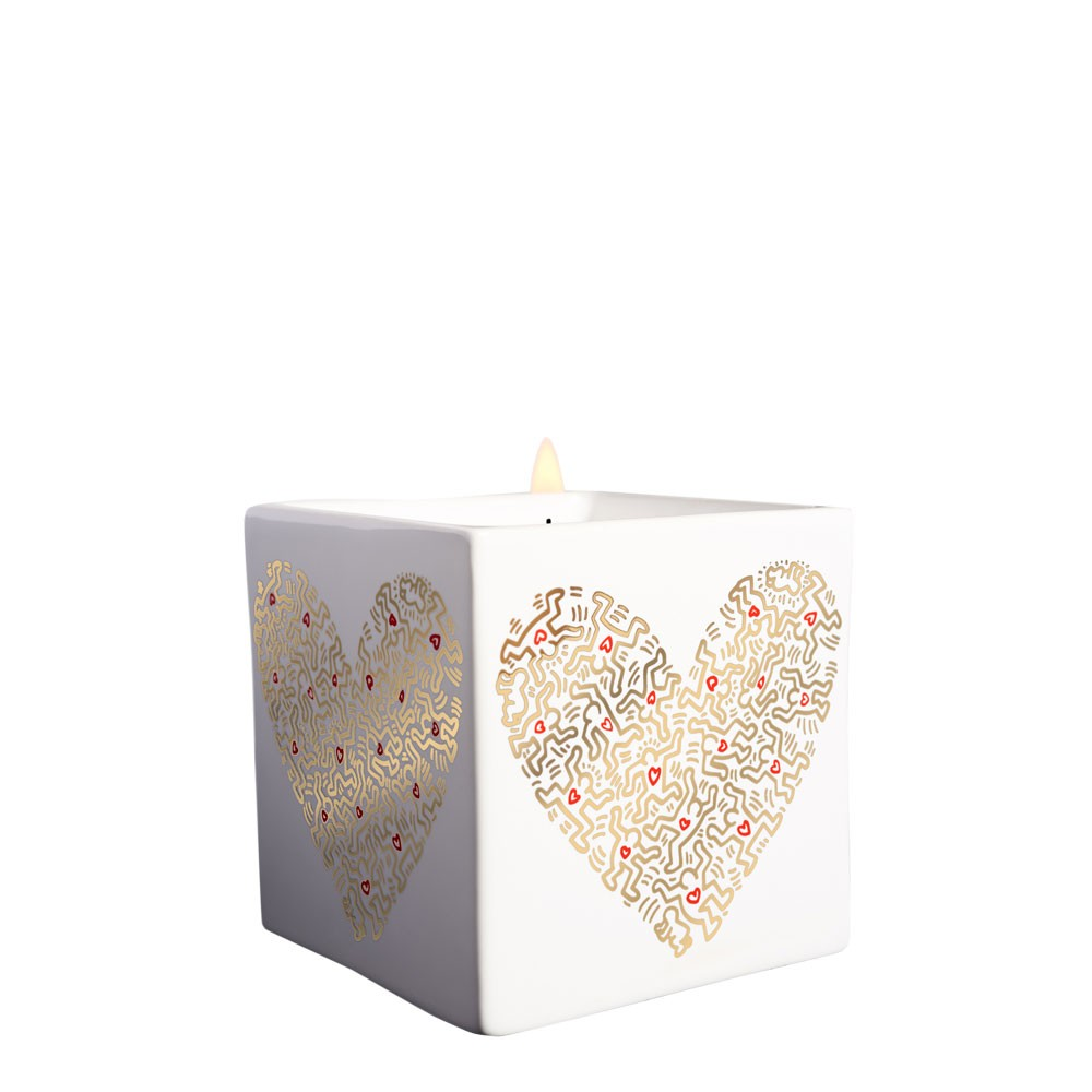 Keith Haring -  Square Gold Pattern Heart Scented Candle