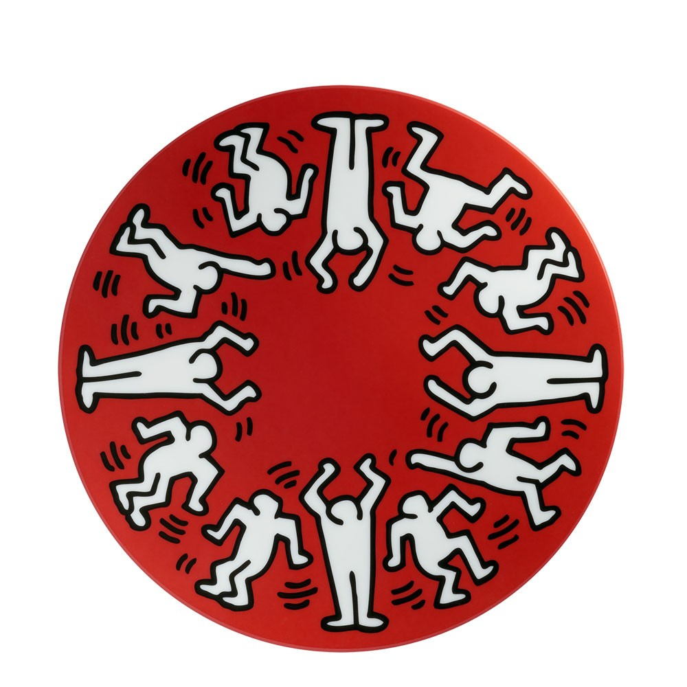 Keith Haring White on Red Large Plate