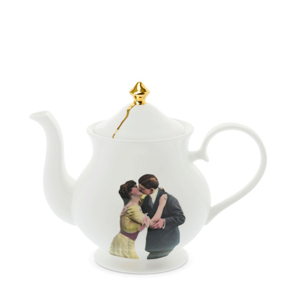 Kissing Couple Large Teapot