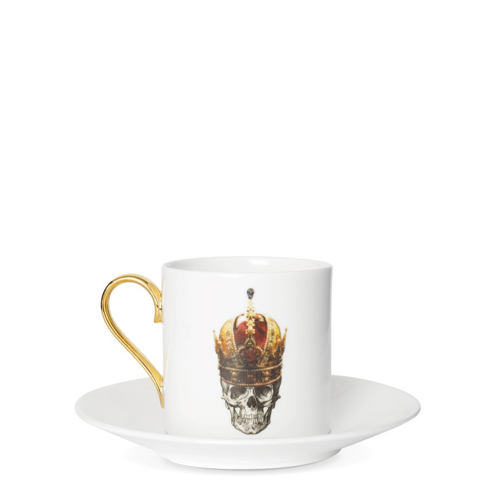Skull in Red Crown Espresso Cup and Saucer