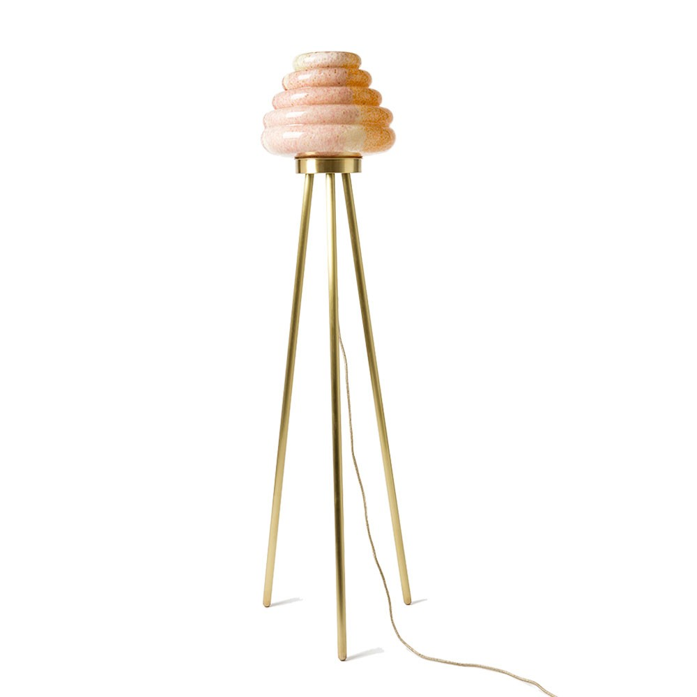 Colmena Floor Lamp - Matt brass legs