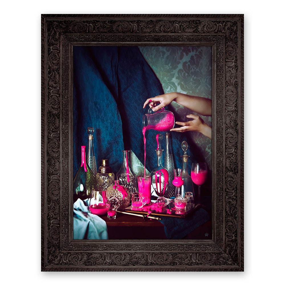 'Still Pink' Ornate Framed Canvas Print