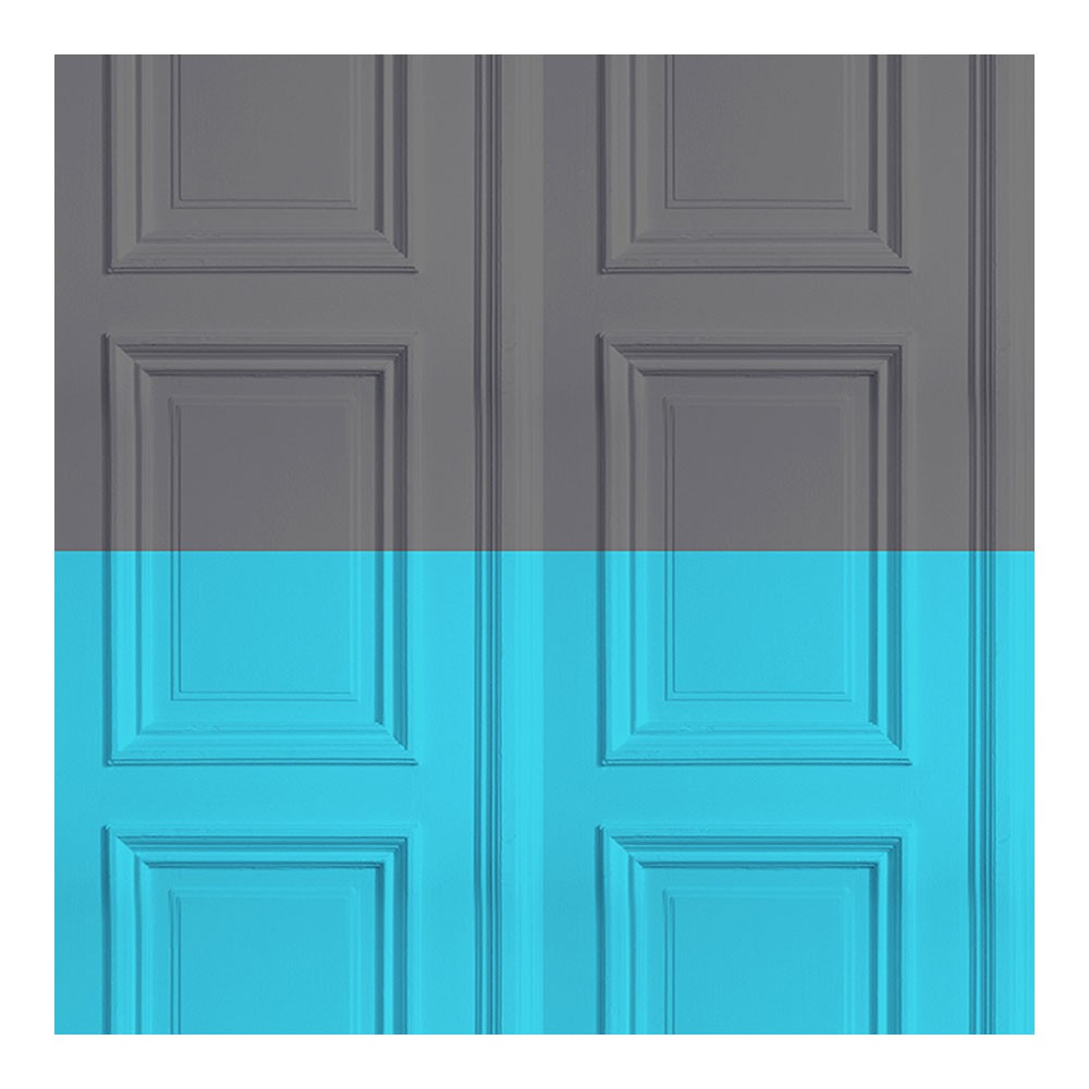 Colourblock Panelling Wallpaper Grey & Turquoise