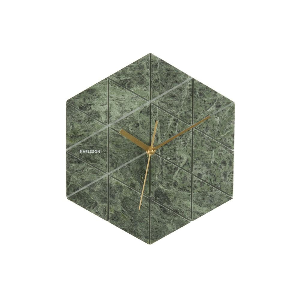 Marble Hexagon Wall Clock - Green