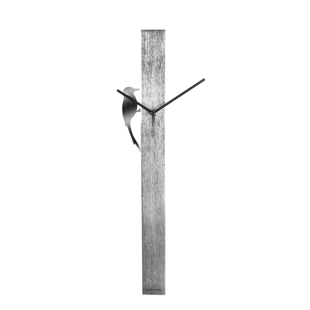 Woodpecker Tube Wall Clock - Chrome Steel