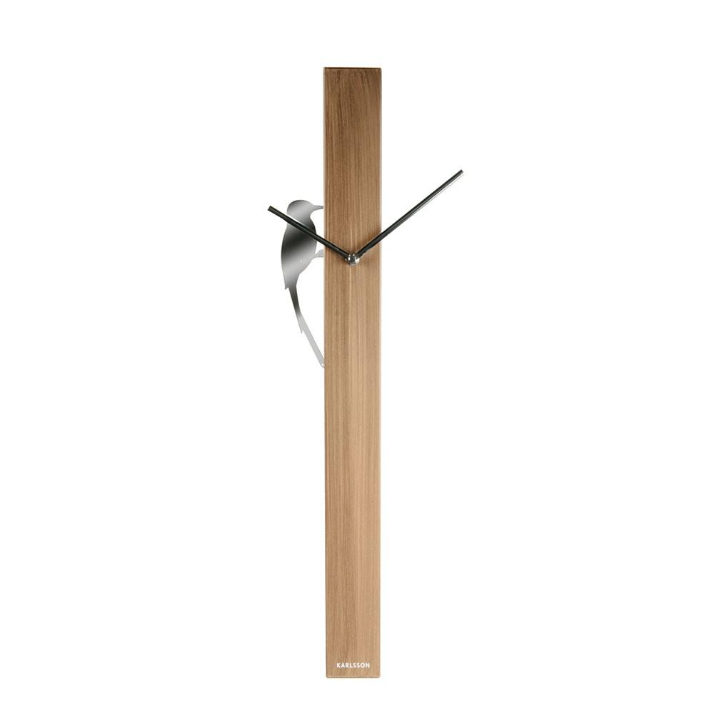 Woodpecker Tube Wall Clock - Steel Wood Painted