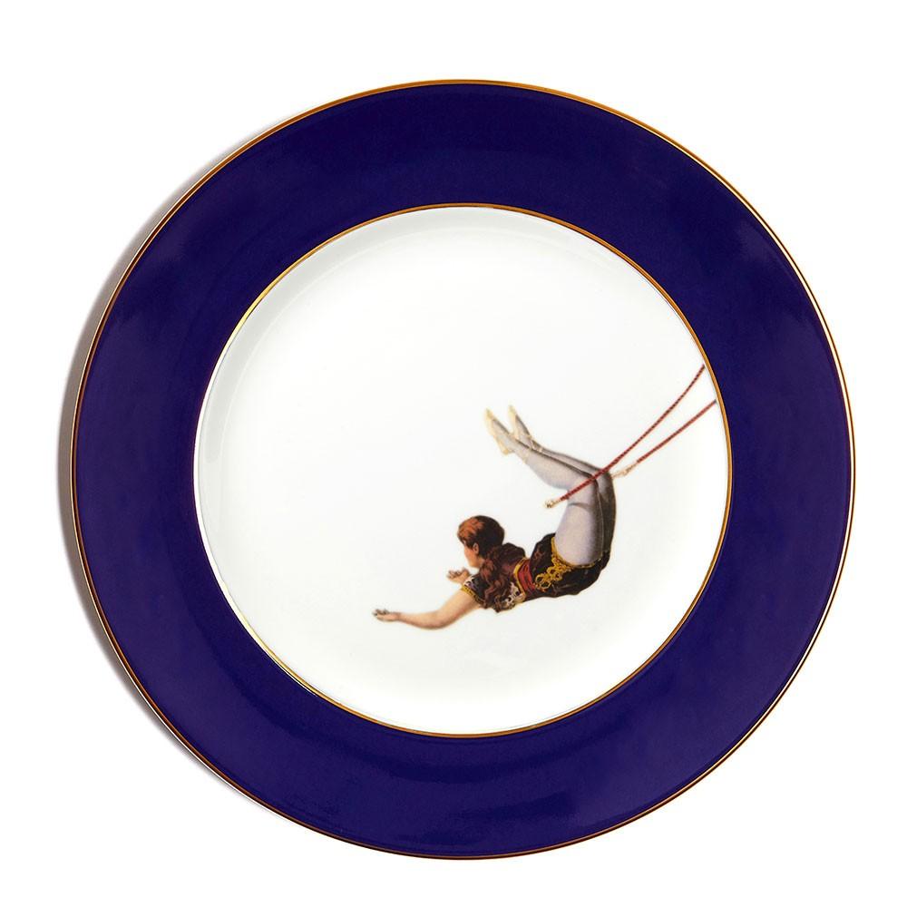 Trapeze Girl Bone China Dinner Plate - Cobalt Blue