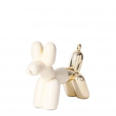Big Top Ceramic Balloon Dog Bookend – Cream & Gold