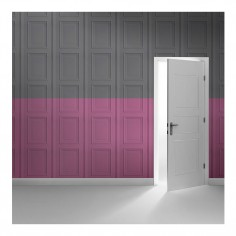 Colourblock Panelling Wallpaper Grey & Rose