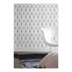 Chesterfield Button Back Wallpaper White