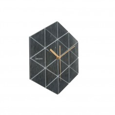 Marble Hexagon Wall Clock - Black