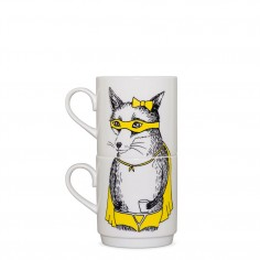 Bandit Fox Stackable Tea Mugs (2Cup Set)