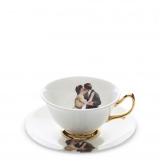 Kissing Couple Teacup and Saucer