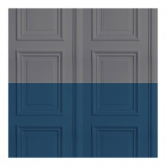 Colourblock Panelling Wallpaper Grey & Marine