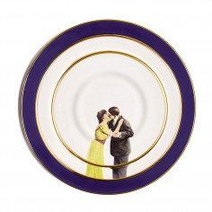 Kissing Couple Bone China Dinner Plate - Cobalt Blue