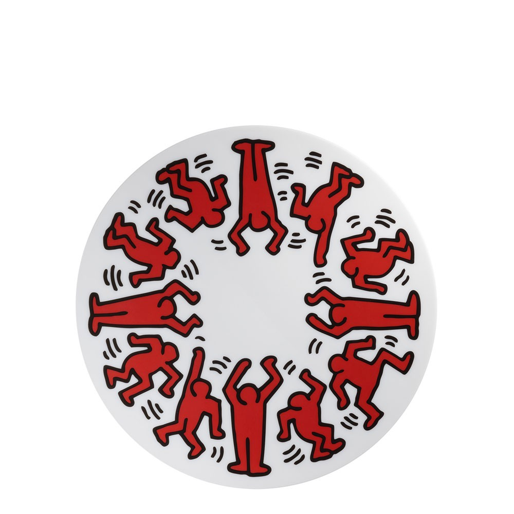 Keith Haring - Red on White Plate