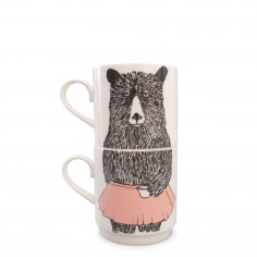 Mrs Bear Stackable Tea Mugs (2Cup Set)