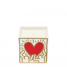 Keith Haring - Square Red Heart with Gold Scented Candle
