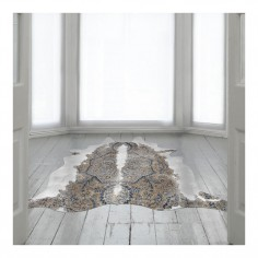 Persian Cowhide Rug Blue & Brown