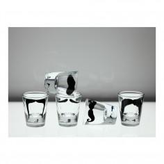 Moustache Set of 5 Shot Glasses in box