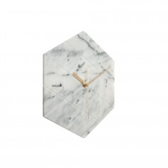 Marble Hexagon Wall Clock - White