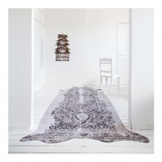 Super Long Grey Persian Cowhide Rug