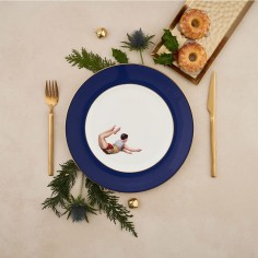 Trapeze Boy Bone China Dinner Plate - Cobalt Blue