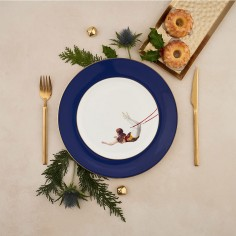Trapeze Girl Bone China Dinner Plate - Cobalt Blue