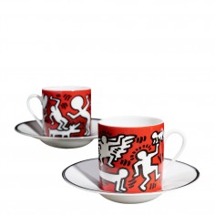 Keith Haring -  White on Red Espresso Set