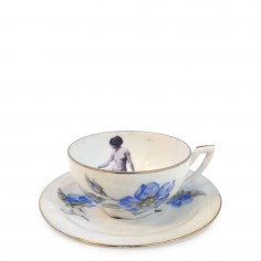 Upcycled Vintage Girl in a Cup Teacup and Saucer