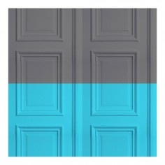 Panelling Wallpaper Grey/Turquoise
