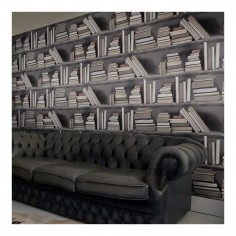 Bookshelf Wallpaper Vintage