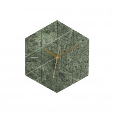 Marble Hexagon Wall Clock - Green